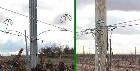 It can be installed in any type of vineyard trellis with either metal or wooden line posts.